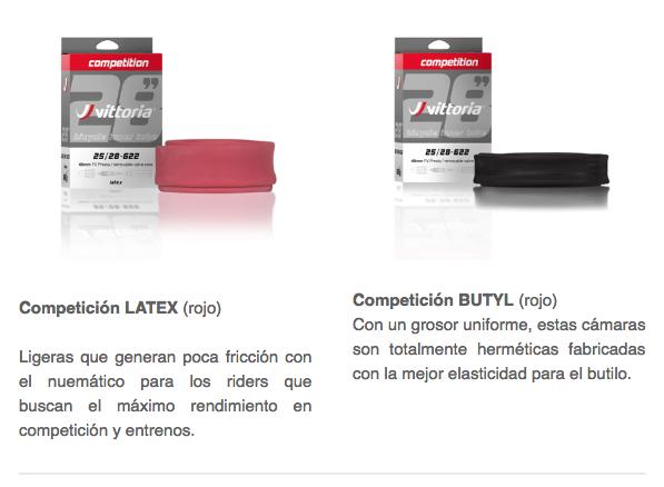 cámaras competición LATEX Y BUTYL